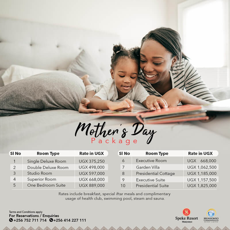 Munyonyo Commonwealth resort mothers day accommodation offers